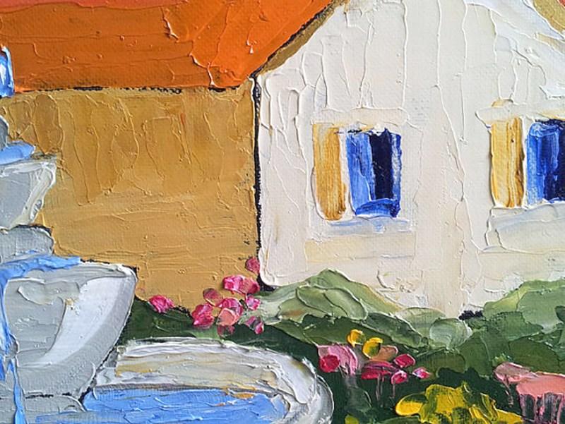 """Mission Garden Fountain"" original fine art by lynne french"