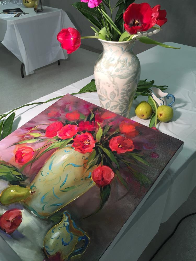 """Look to the Stars Red Tulips"" original fine art by Nancy Medina"
