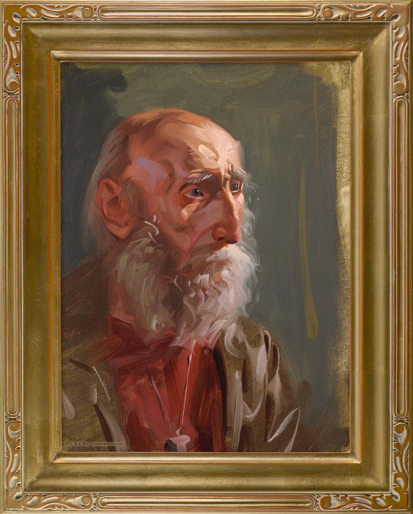 """""""Aged Gaze, Framed"""" original fine art by Rob  Rey"""