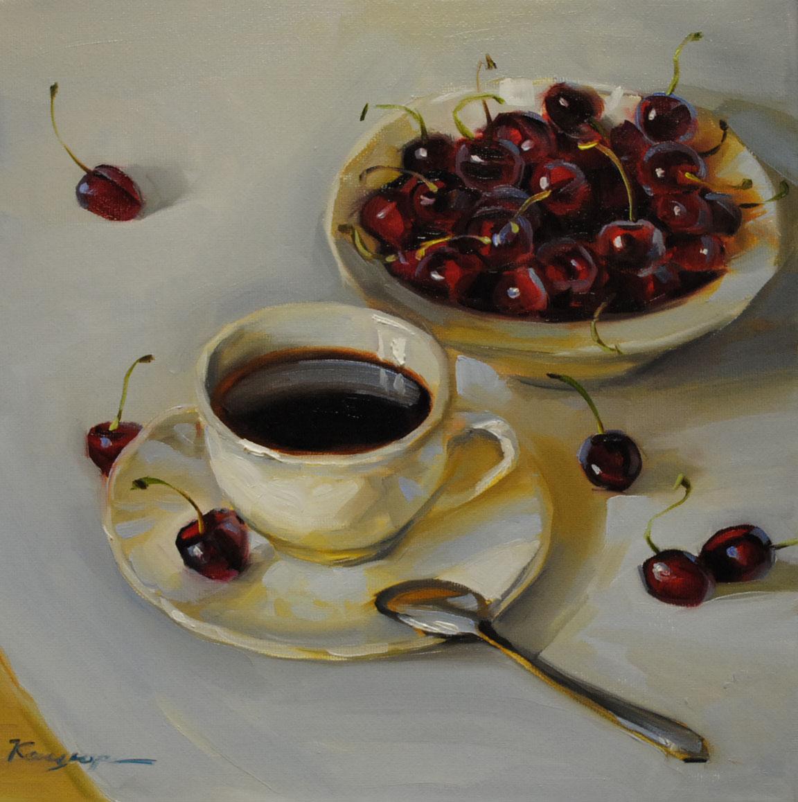 """Cherry coffee"" original fine art by Elena Katsyura"