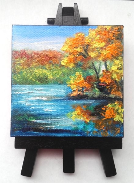 """""""Fall Trees Reflecting in Lake"""" original fine art by Camille Morgan"""