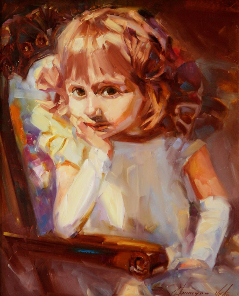 """PORTRAIT OF A GIRL ORIGINAL OIL PAINTING HANDMADE ART ONE OF A KIND"" original fine art by V Y"