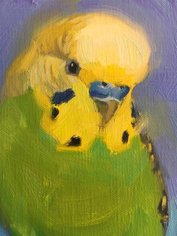 """Budgie65-oil"" original fine art by Katya Minkina"