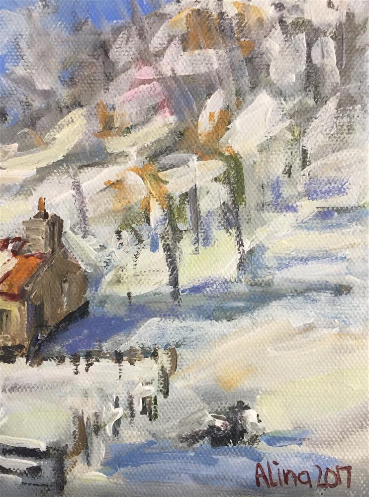 """""""Cottage in Snow"""" original fine art by Alina Vidulescu"""