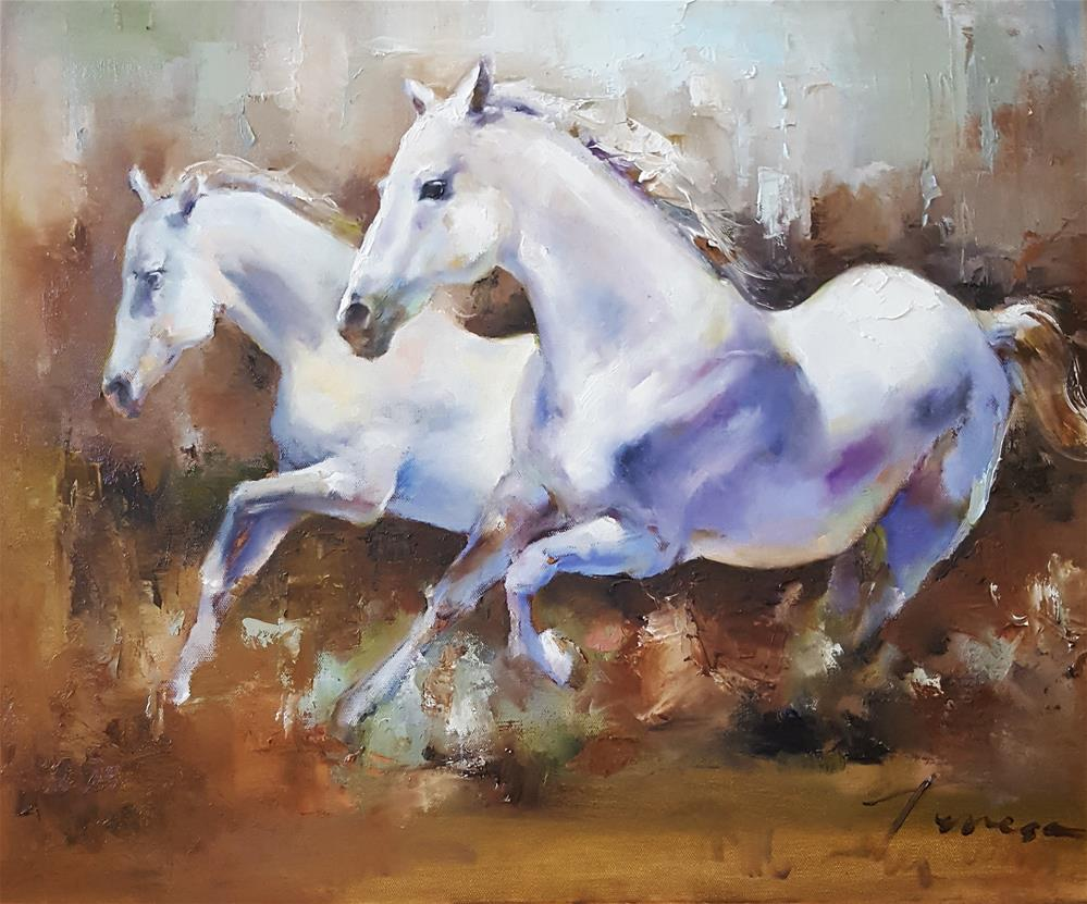 """white horses"" original fine art by Teresa Yoo"