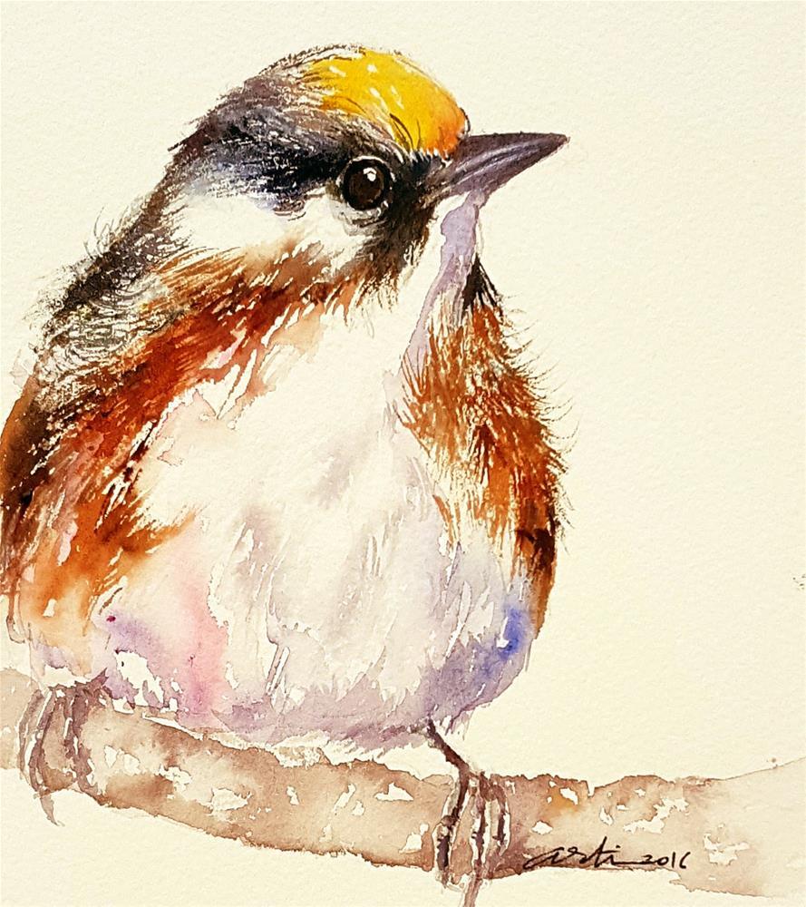 """""""Banana Top Bird"""" original fine art by Arti Chauhan"""