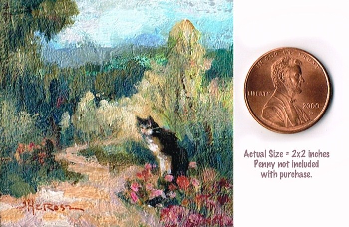 """Roadside Kitty"" original fine art by Theresa Taylor Bayer"