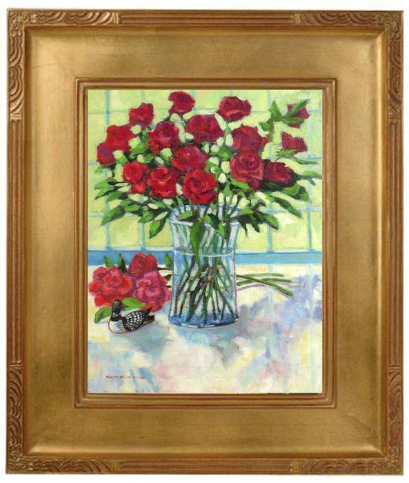 """""""Red Roses and Loon"""" original fine art by Rhett Regina Owings"""