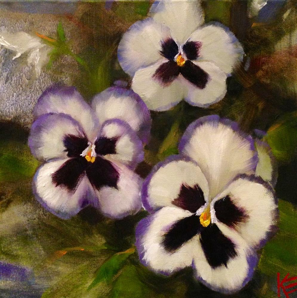 """Pansies on Denim"" original fine art by Krista Eaton"