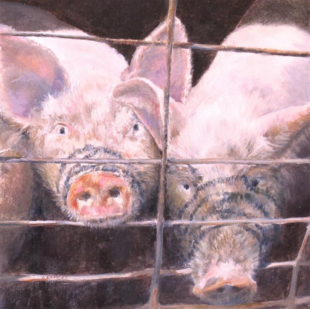 """Two Piggies"" original fine art by Linda Demers"