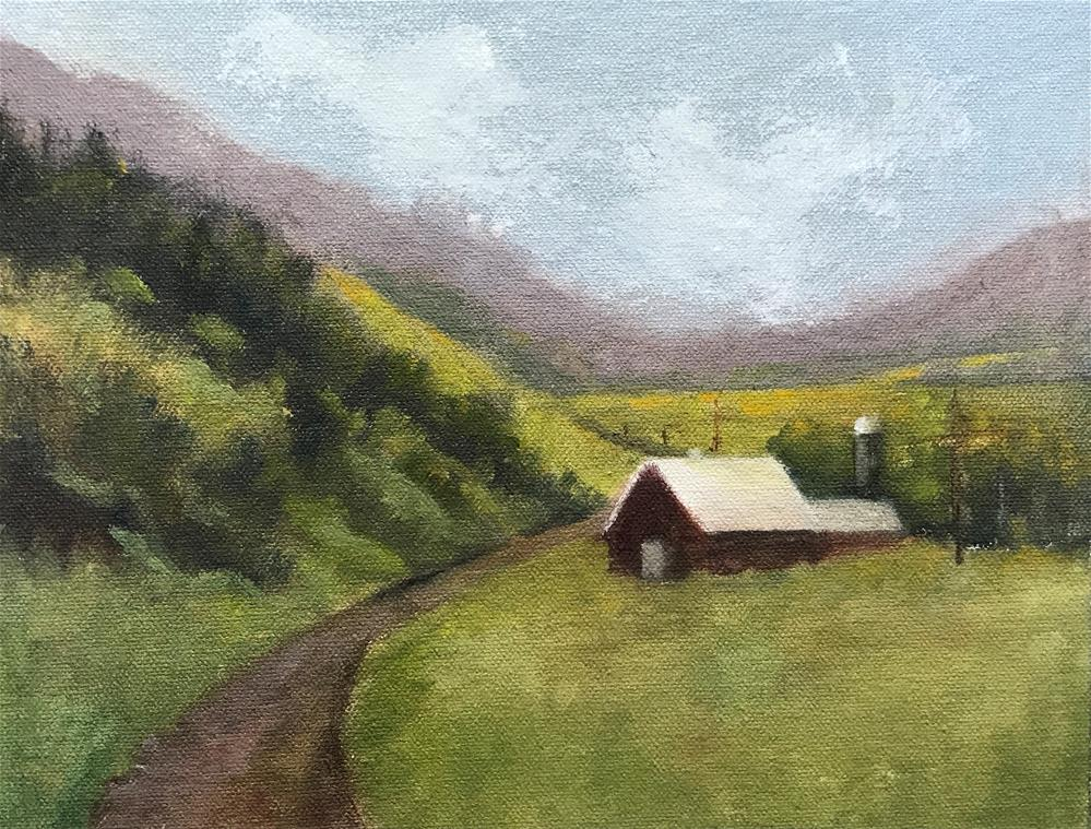 """barn on the edge of the dirt road"" original fine art by Betty Argiros"