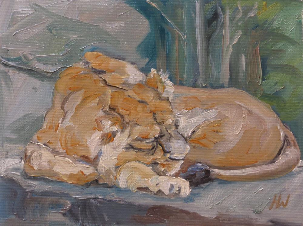 """Sleepy Lion"" original fine art by H.F. Wallen"