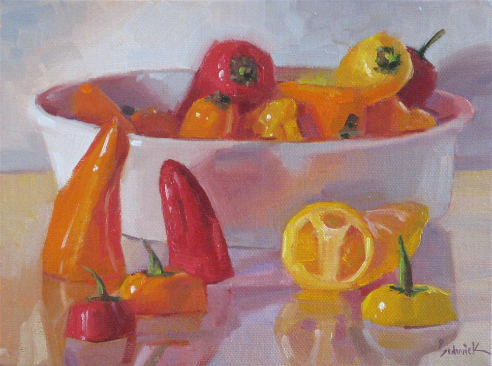 """Pepper Boat fruit vegetable food kitchen art painting still life"" original fine art by Sarah Sedwick"
