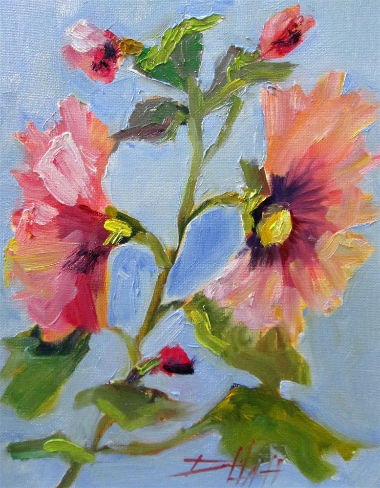 """Hollyhocks"" original fine art by Delilah Smith"