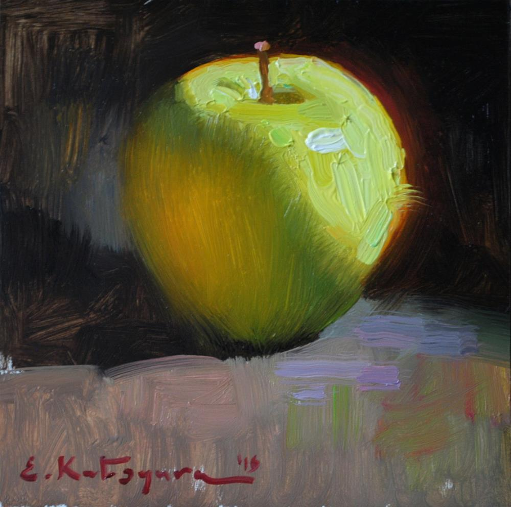 """Green Autumn Apple"" original fine art by Elena Katsyura"