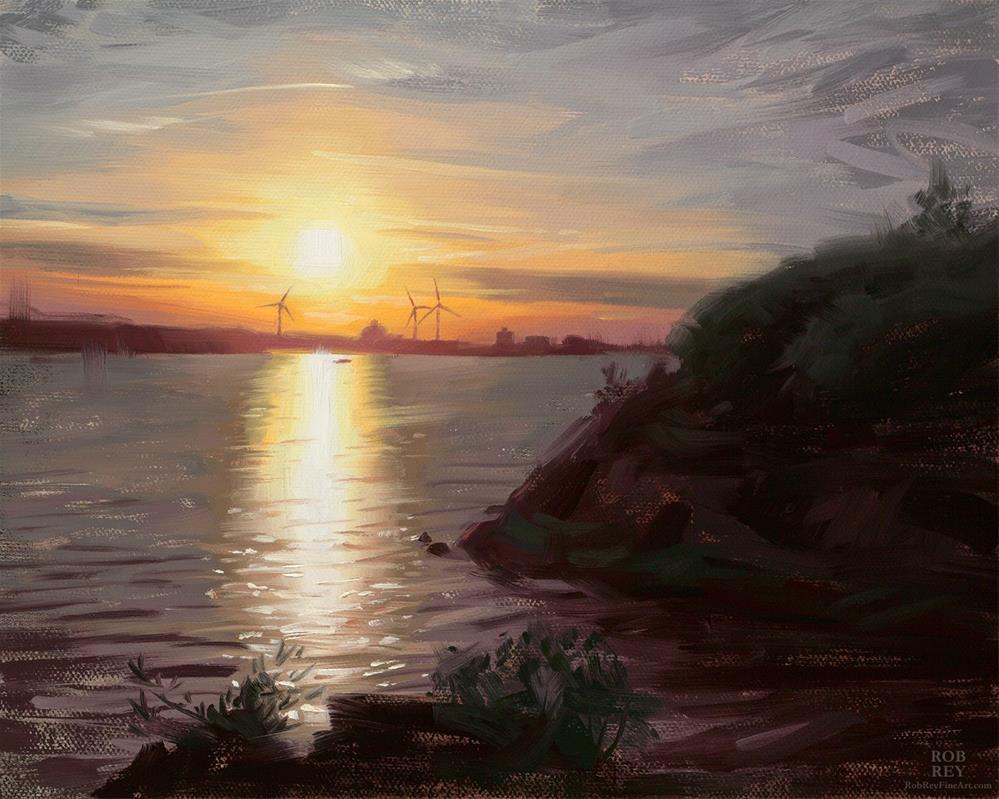 """Across the Bay"" original fine art by Rob  Rey"