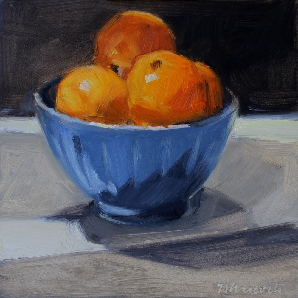 """Oranges in a Blue Bowl"" original fine art by Gretchen Hancock"