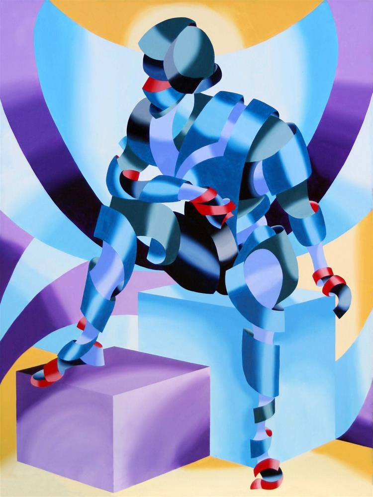 """""""Mark Webster - Michael - Abstract Geometric Futurist Figurative Oil Painting"""" original fine art by Mark Webster"""