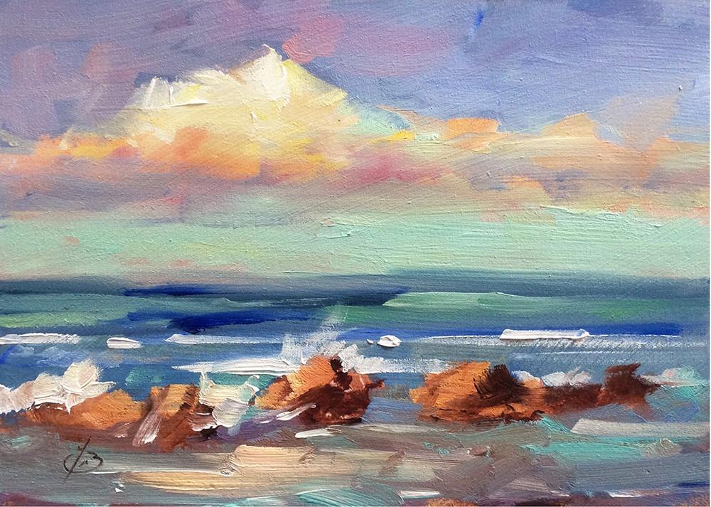 """COASTAL SEASCAPE"" original fine art by Tom Brown"