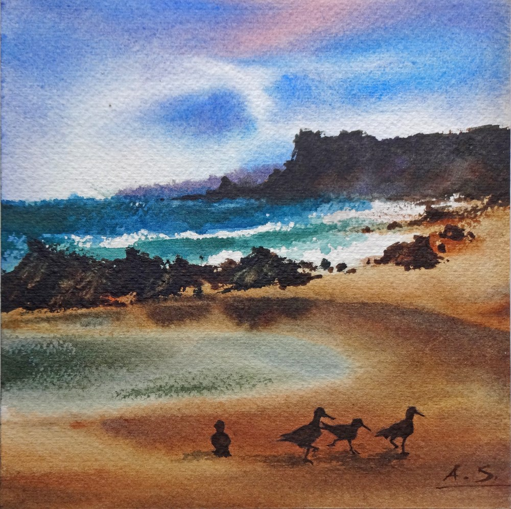"""The Beachcombers"" original fine art by Arena Shawn"