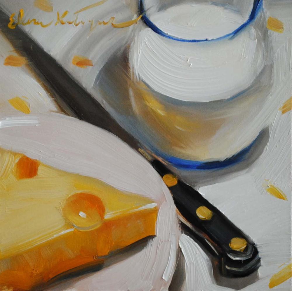 """Making Breakfast"" original fine art by Elena Katsyura"