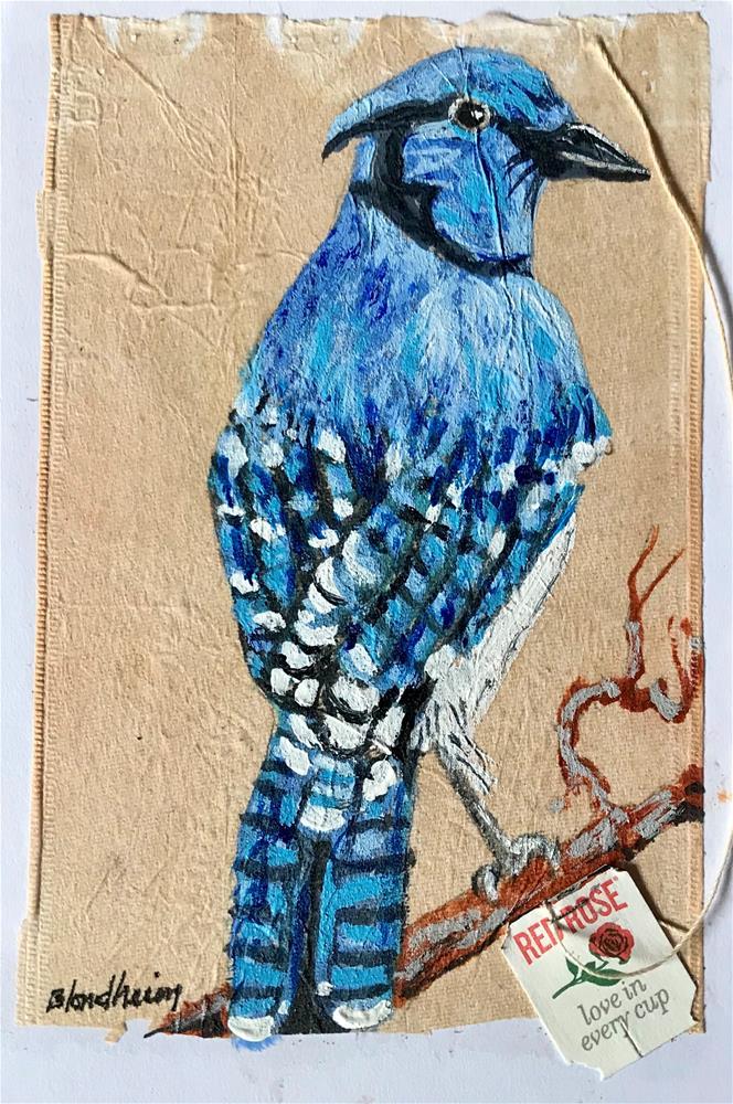 """Tea Bag Painting Blue Jay"" original fine art by Linda Blondheim"