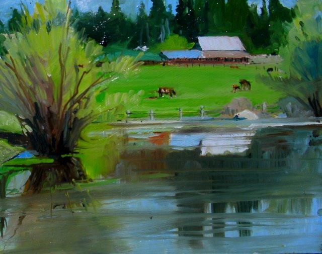 """""""Allair Farm, Plein air landscape"""" original fine art by Robin Weiss"""