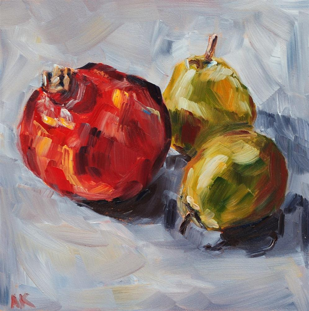 """""""Pomegranate and Pears"""" original fine art by Alison Kolkebeck"""
