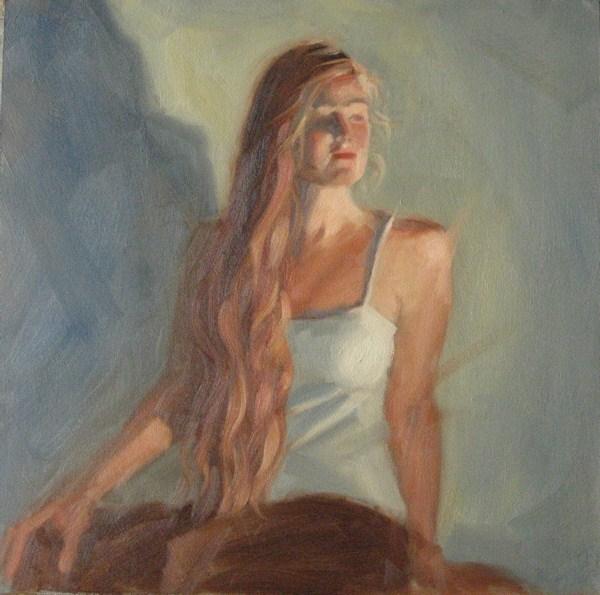 """""""B in white 12x12 oil"""" original fine art by Claudia Hammer"""