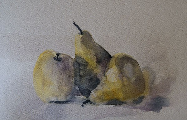 """""""Two Pears and an Apple"""" original fine art by Amy Bryce"""