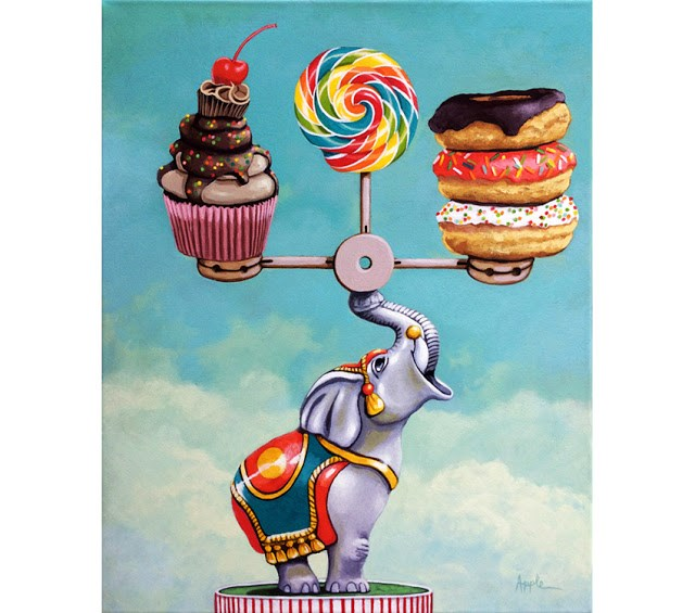 """""""A Well Balanced Diet - whimsical still life painting desserts and antique toy elephant"""" original fine art by Linda Apple"""