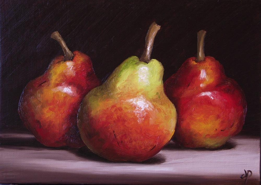 """Three Red Williams Pears"" original fine art by Jane Palmer"