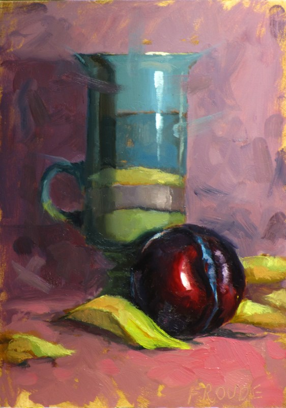 """Plum with cup"" original fine art by Dave Froude"
