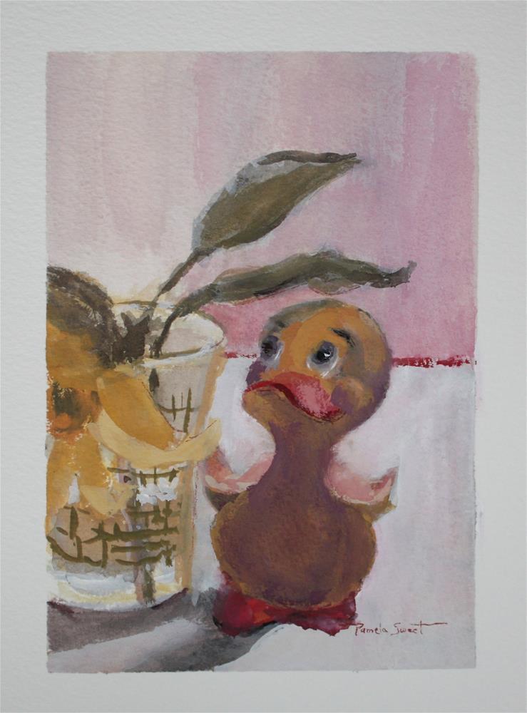 """Baby Rubber Duckie Dancing"" original fine art by Pamela Sweet"