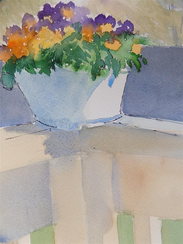"""""""Pansies on the Deck"""" original fine art by Joan Reive"""