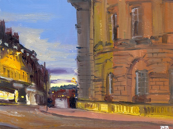 """Dawn  at Bridge Street, Bath"" original fine art by Adebanji Alade"