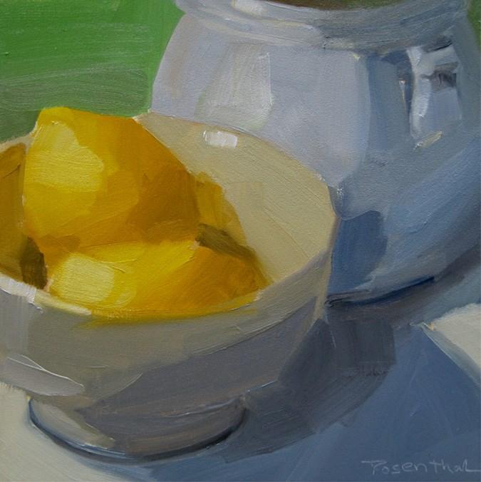 """""""White Bowl and Lemons II"""" original fine art by Robin Rosenthal"""