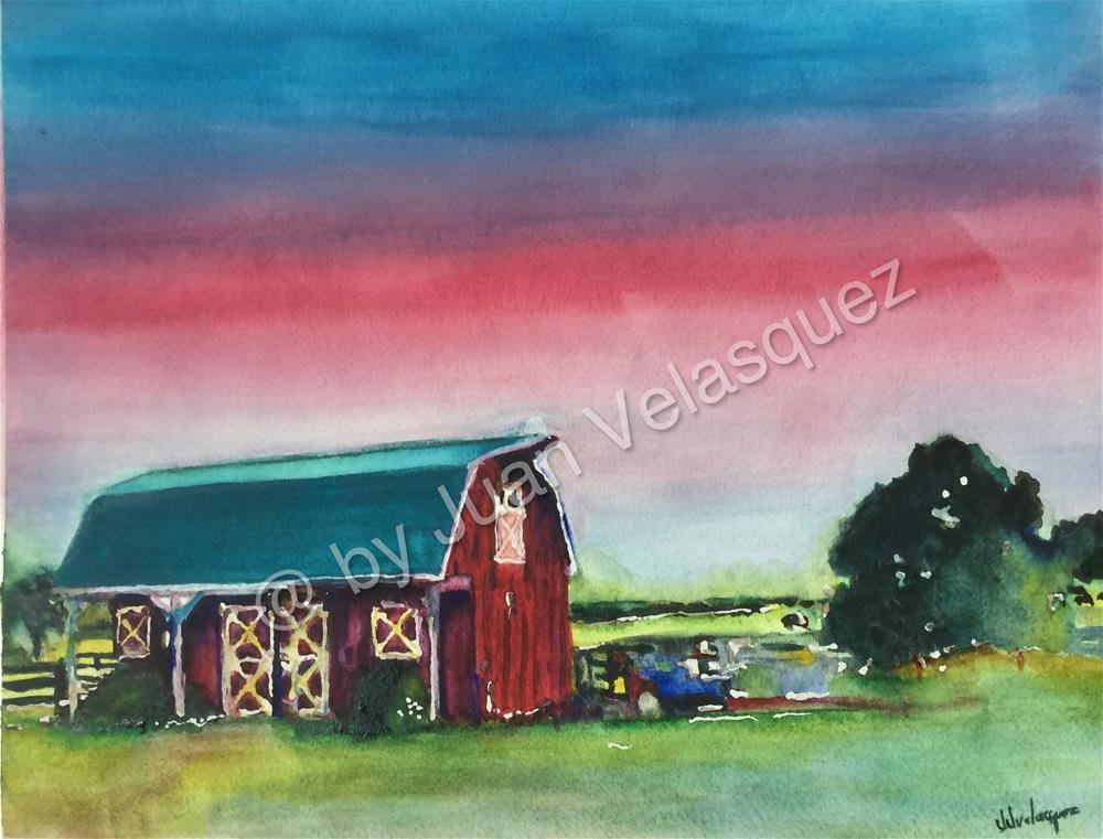 """""""The Barn"""" original fine art by Juan Velasquez"""