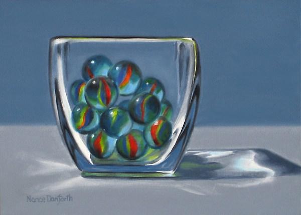 """Blue Marbles in Glass Vase"" original fine art by Nance Danforth"