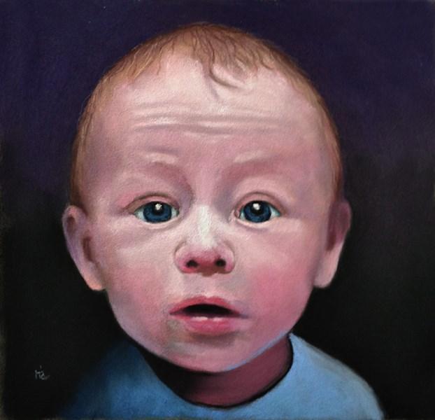 """portrait of a child and a dog"" original fine art by Ria Hills"
