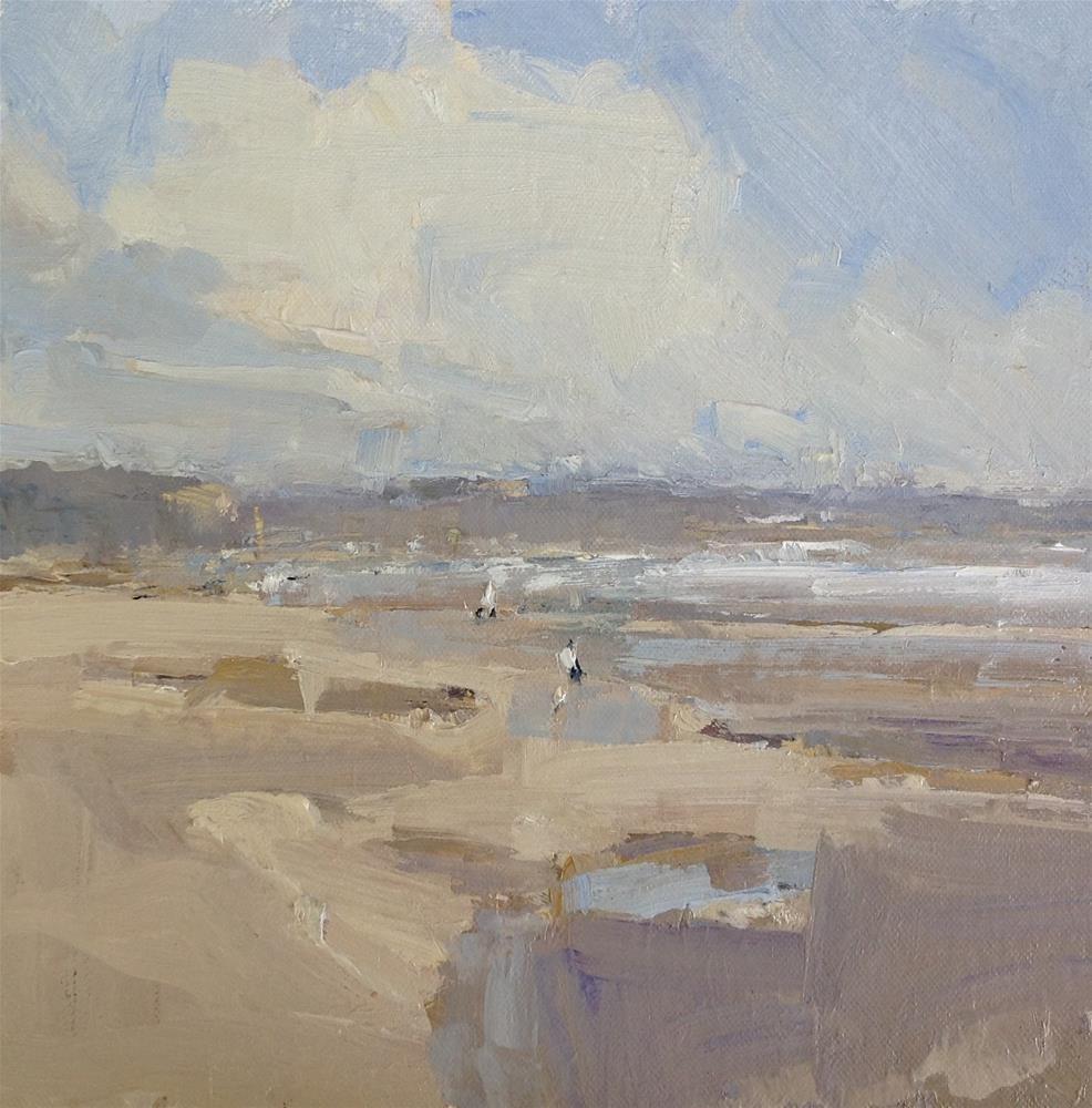 """""""Breezy Beach Walk 10x10 oil Plein air"""" original fine art by Deborah R Hill"""