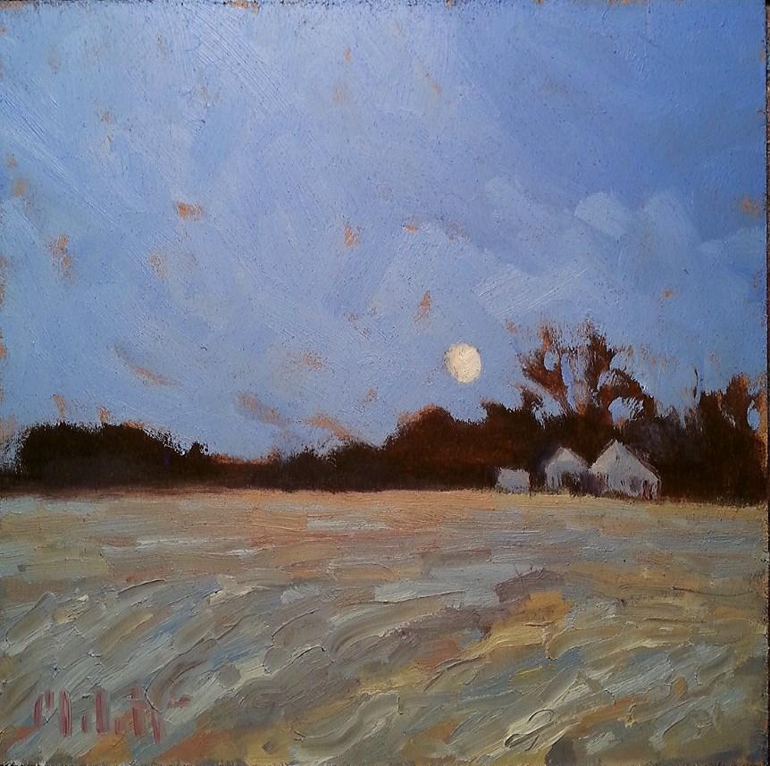 """Full Moon in February Contemporary Impressionism Original Daily Oil Painting"" original fine art by Heidi Malott"