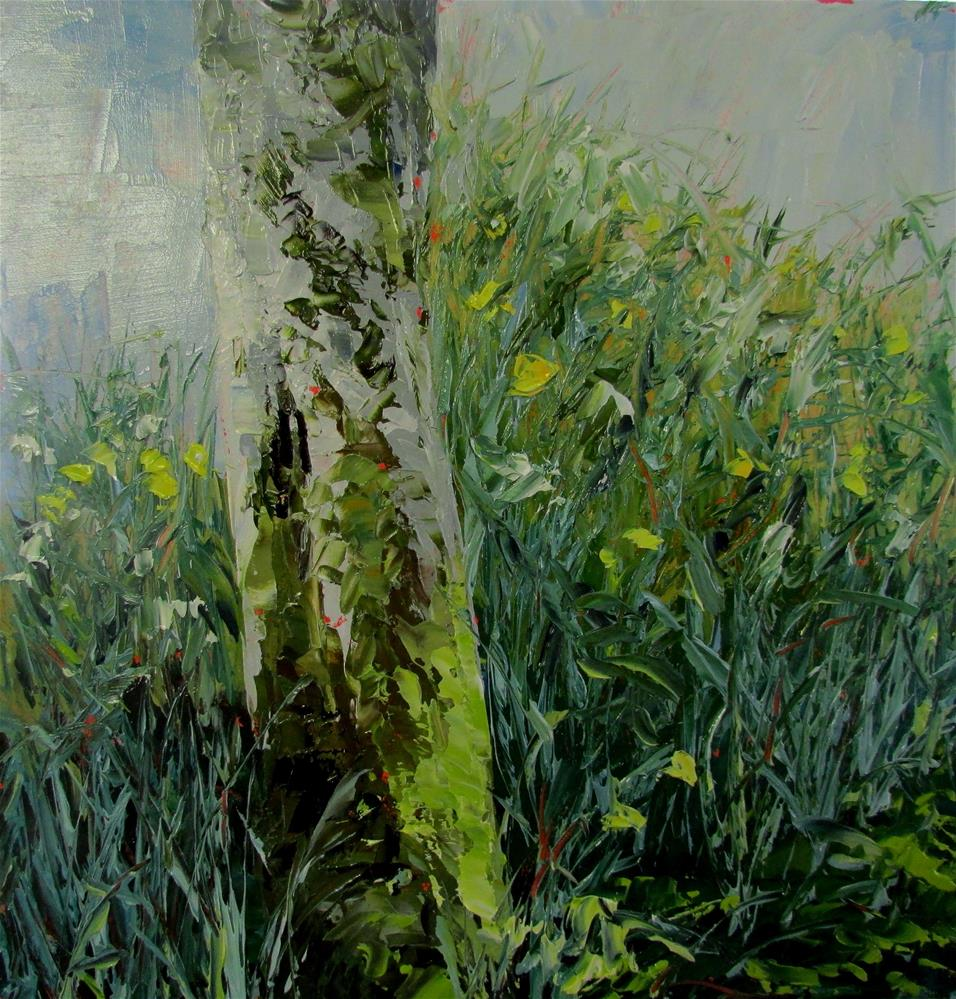 """8 x 8 inch oil Daffs"" original fine art by Linda Yurgensen"