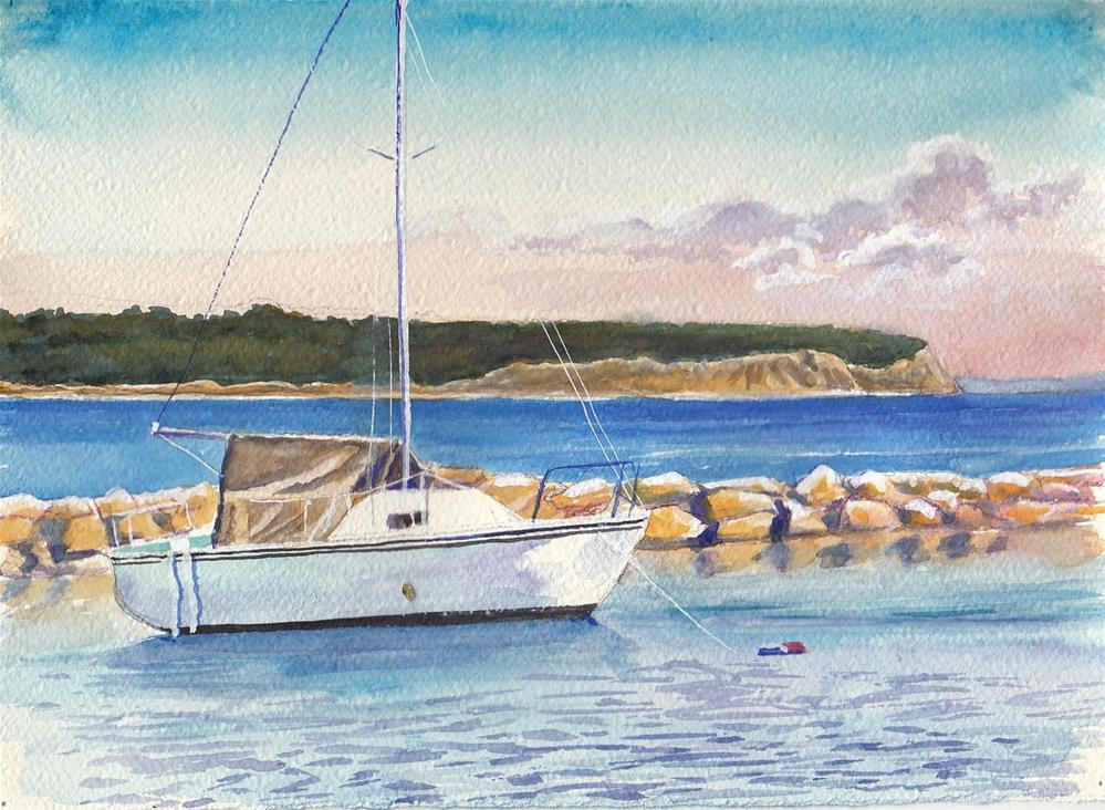 """Boat in Harbor"" original fine art by Bunny Griffeth"