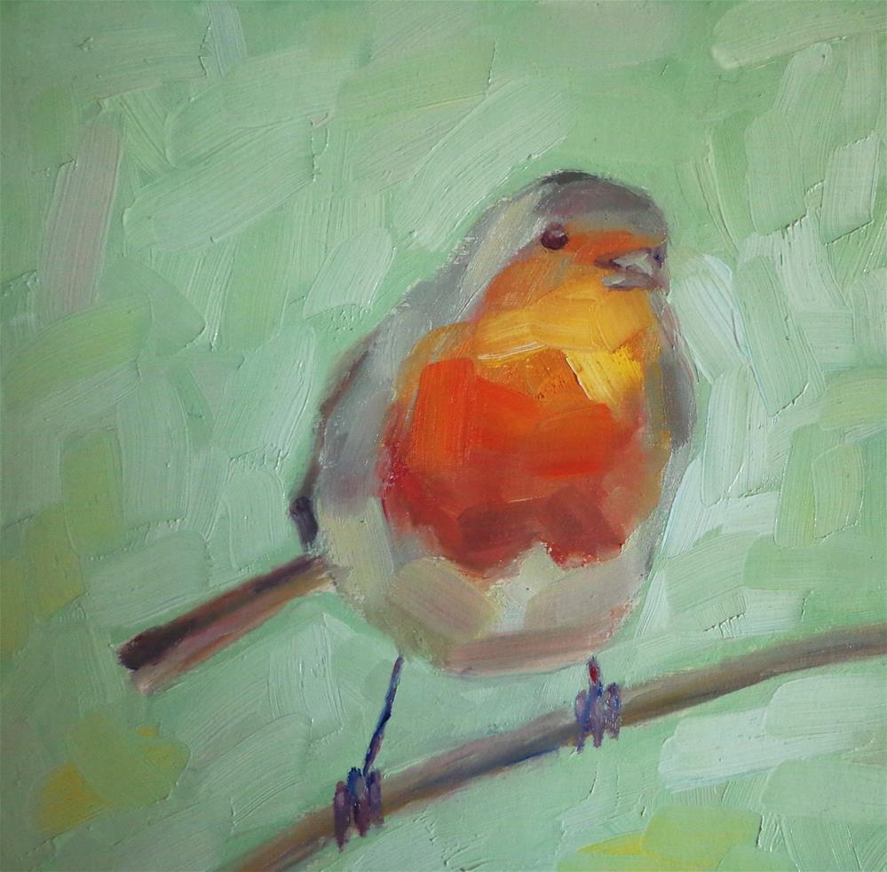 """""""Cute robin"""" original fine art by Maria Z."""