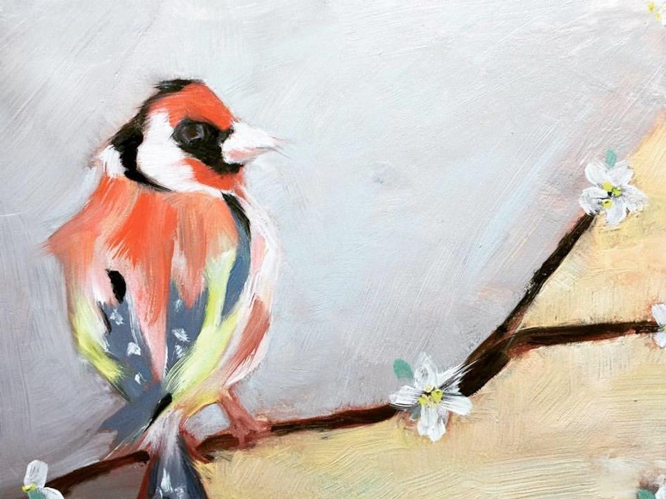 """Chubby Goldfinch"" original fine art by Jenny Doh"