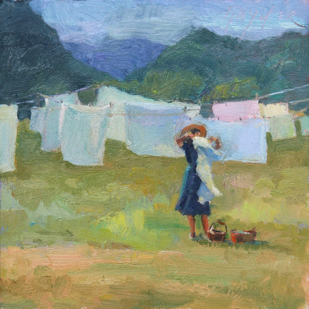 """Lavage en Plein Air - Hanging the Washing Out"" original fine art by Julie Snyder"