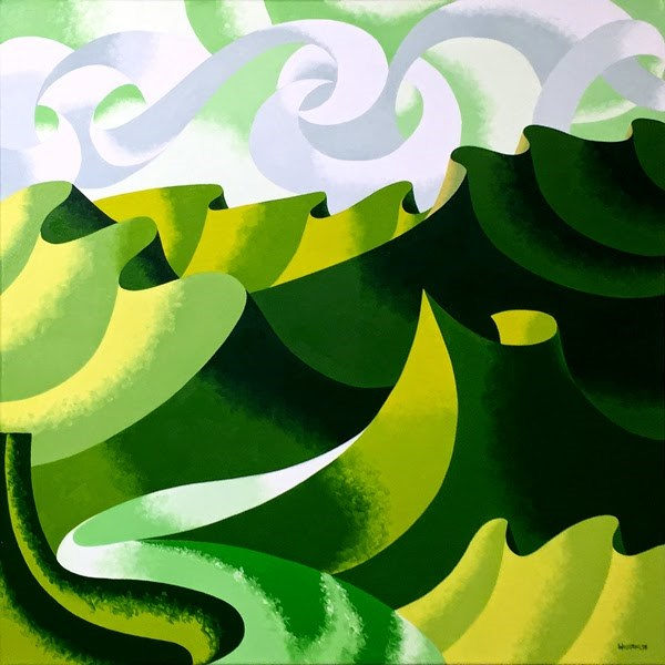 """""""Mark Adam Webster - Abstract Geometric Grand Canyon Oil Painting in Green"""" original fine art by Mark Webster"""