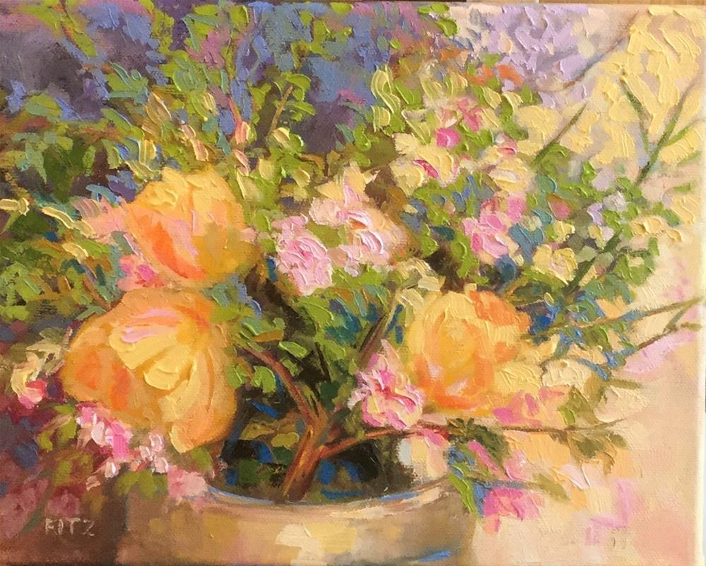 """""""Apple Blossoms and Tulips"""" original fine art by Charlotte Fitzgerald"""