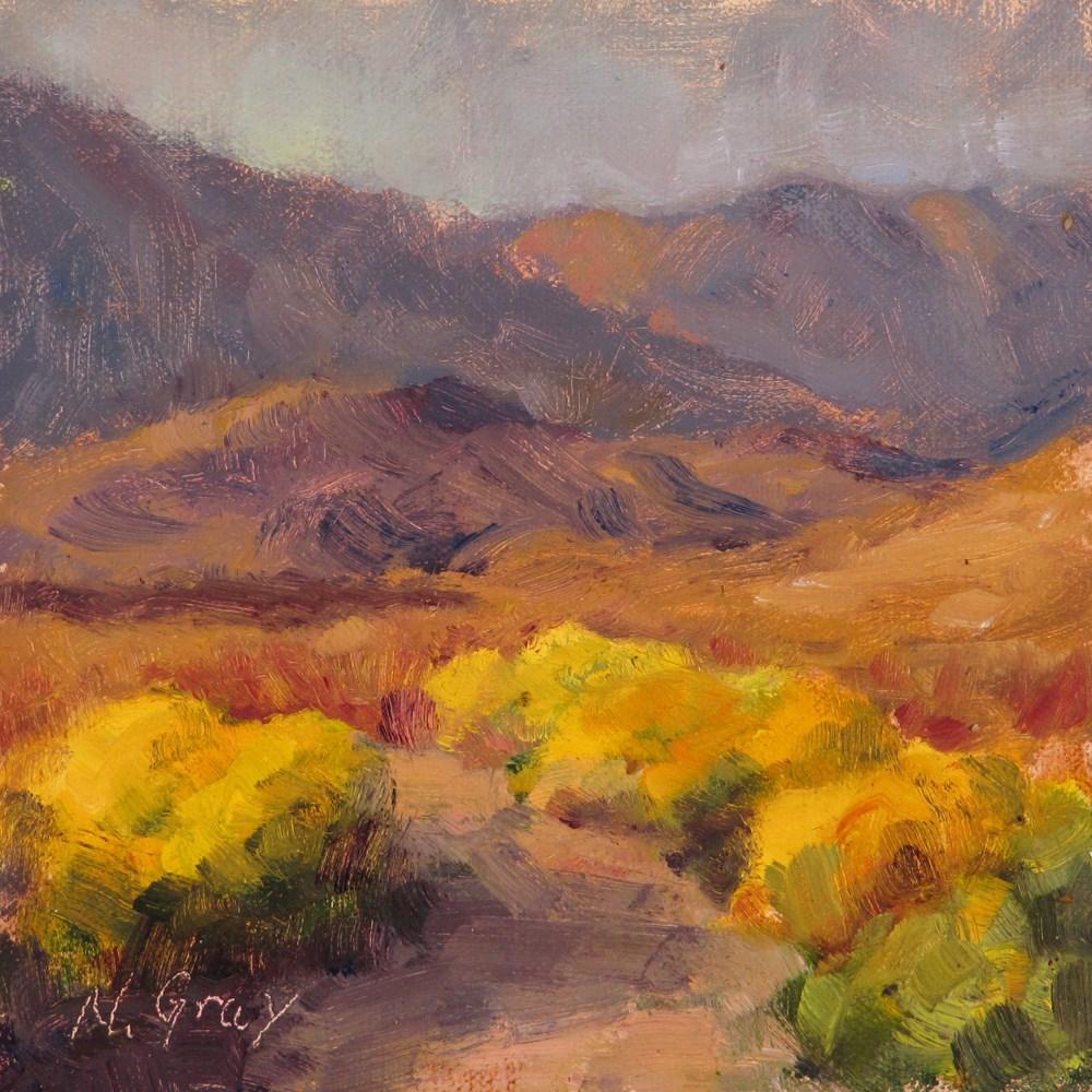 """Rabbitbrush in the Desert"" original fine art by Naomi Gray"